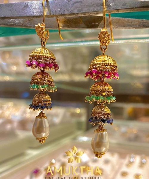 tiered gold jhumkis