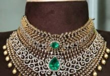 two step diamond and emerald choker