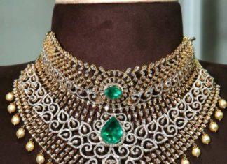 two step diamond and emerald choker