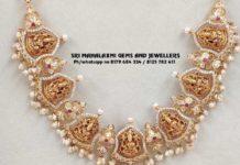 antique gold lakshmi cz necklace