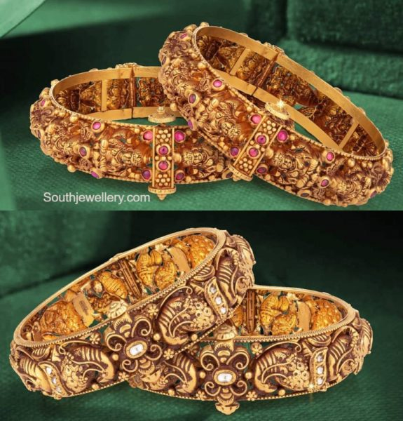 antique gold nakshi broad bangles