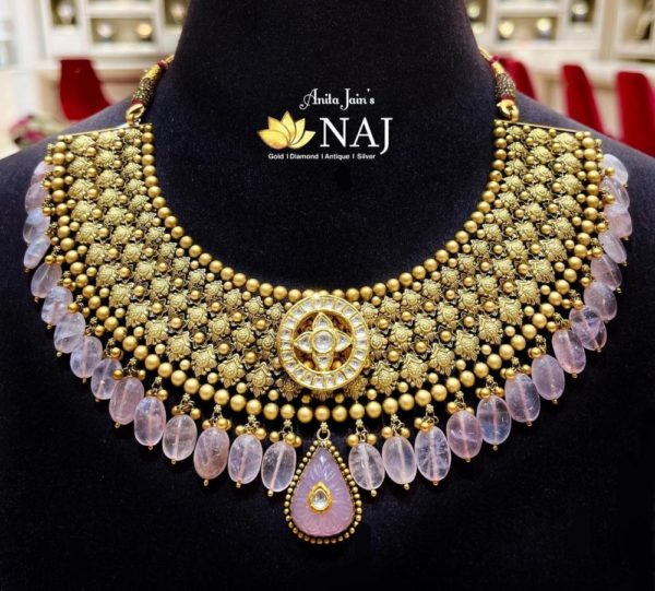 antique gold necklace with colored beads
