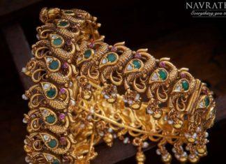 antique gold peacock nakshi bangles