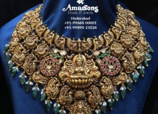 antique gold peacock nakshi bridal choker