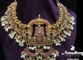 antique gold peacock necklace with balaji pendant