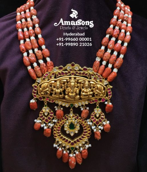 coral beads haram with ganesh pendant