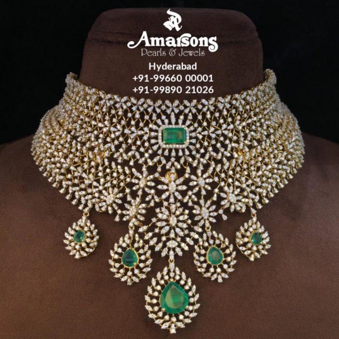 diamond and emerald bridal choker