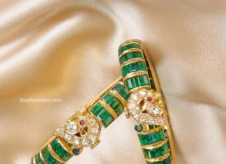emerald bangles with peacock motifs
