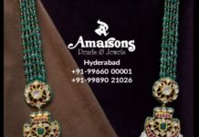 emerald beads and pearls layered haram