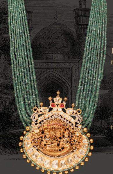 emerald beads haram with gold nalshi pendant