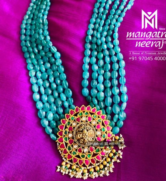emerald beads haram with kundan pendant (2)