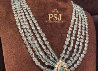 emerald beads haram with polki pendant (1)