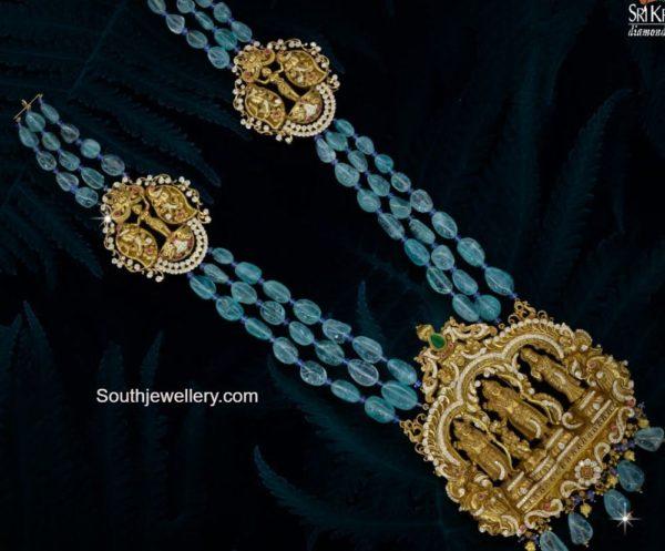 emerald beads haram with ram parivar pendant