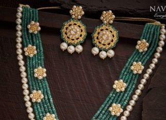 emerald beads necklace and earrings set