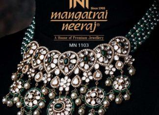 emerald beads necklace with uncut diamond pendant