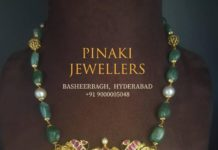 emerald necklace with nakshi pendant