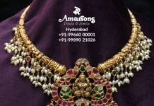 kante nakshi necklace with lakshmi pendant