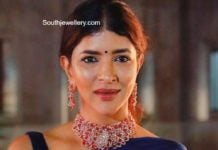 lakshmi manchu in diamond choker set