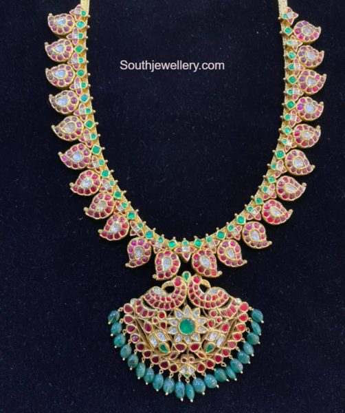 mango kundan haram with removable pendant