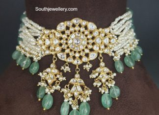multi strand pearl choker with polki pendant (2)