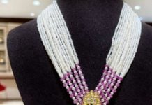 multi strand pearl necklace with polki pendant (1)