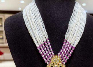 multi strand pearl necklace with polki pendant (1)