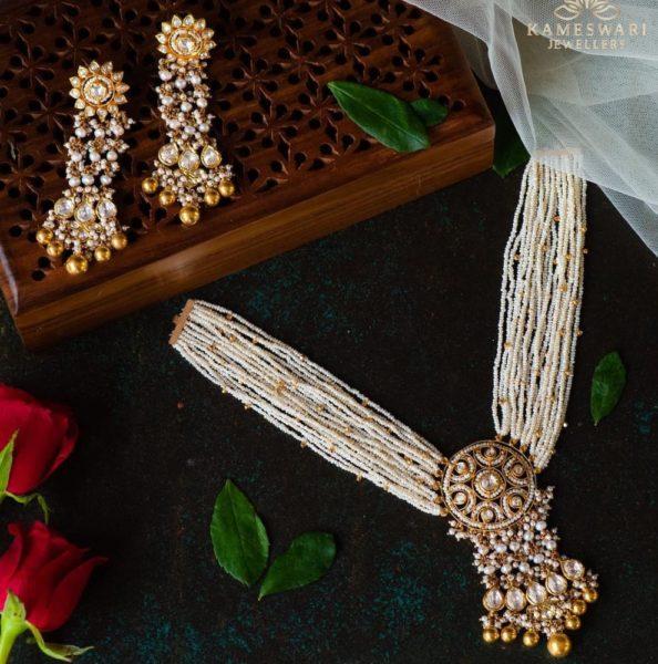 multi strand pearl necklace with polki pendant (2)