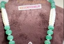 pearl and emerald beads necklace with diamond pendant