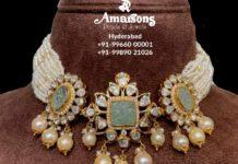 pearl choker with polki pendant (4)