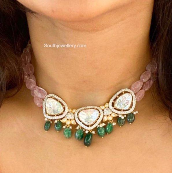 pink beads choker with polki pendant