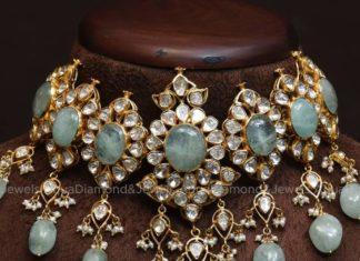 polki diamond and emerald choker