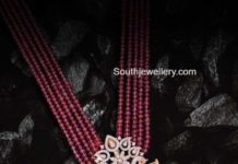 red beads haram with kundan pendant
