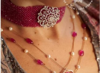 ruby beads choker with diamond pendant