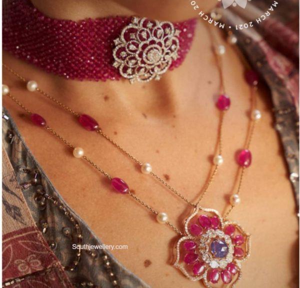 ruby beads choker with diamond pendant