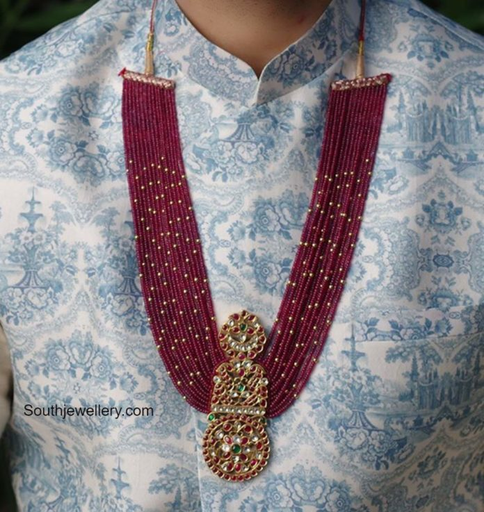 ruby beads haram with kundan pendant