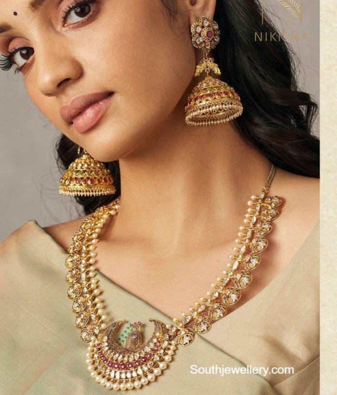 uncut diamond necklace and jhumkas