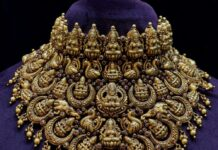 antique gold bridal lakshmi choker