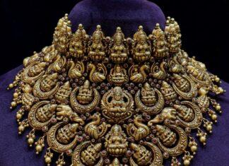 antique gold bridal lakshmi choker