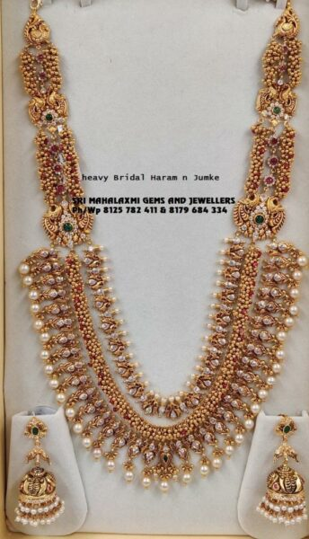 antique gold haram and jhumkis