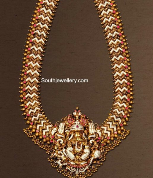 antique gold haram with ganesh pendant