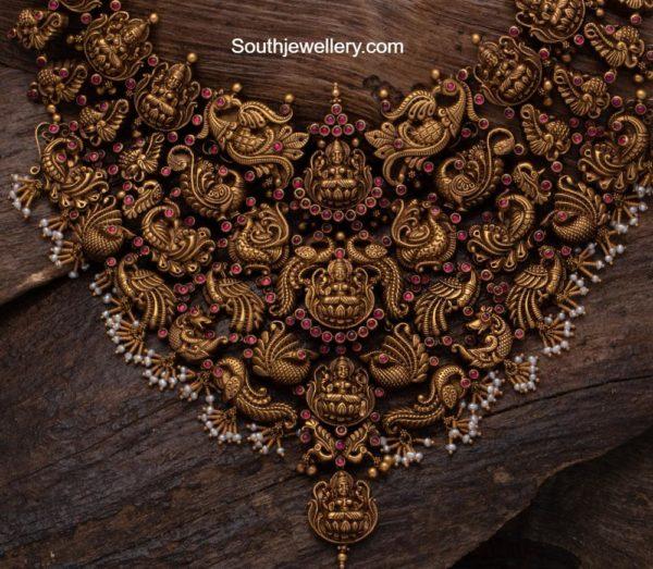 antique gold lakshmi and peacock choker aabushan