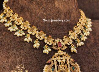 antique gold peacock nakshi necklace (4)