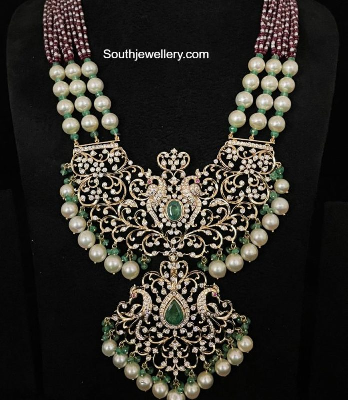 beads haram with peacock pacchi pendant