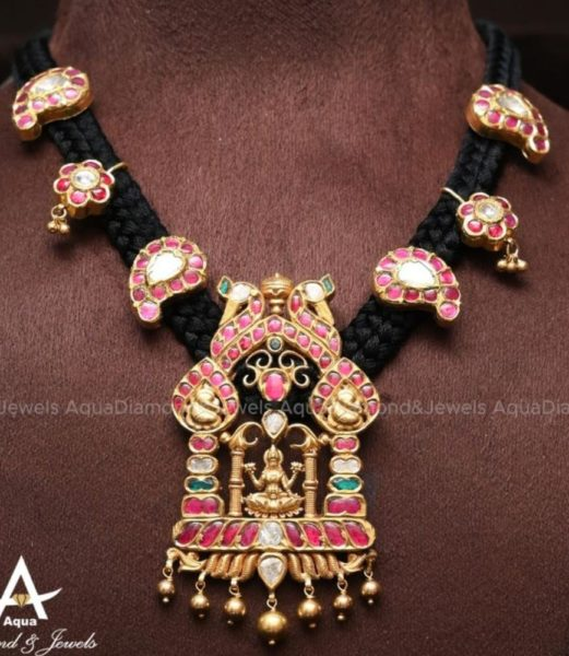 black thread necklace with lakshmi pendant