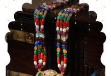 colored beads necklace with polki pendant