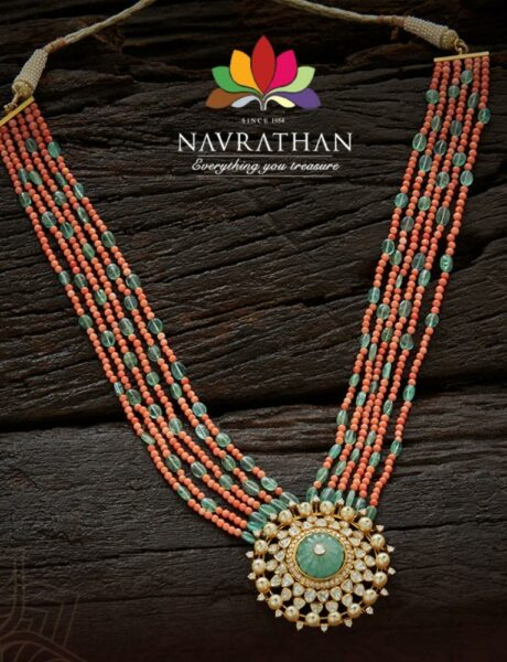 coral beads haram with polki pendant
