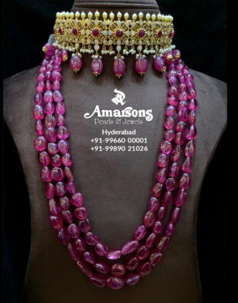 cz choker and ruby beads mala
