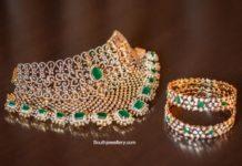 diamond and emerald choker and bangles