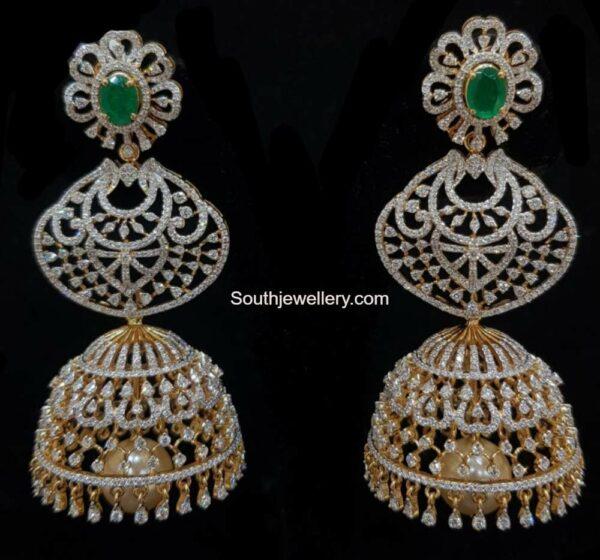 diamond and emerald jhumkas