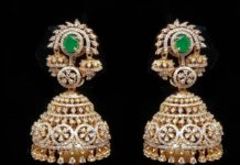diamond and emerald jhumkis